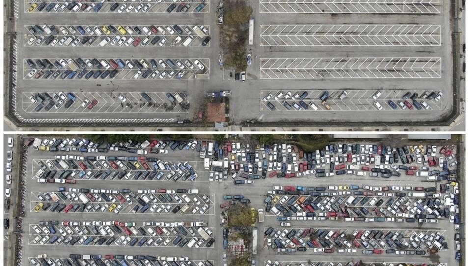 El dipòsit municipal de vehicles abans i després de l'adjudicació de 780 vehicles.