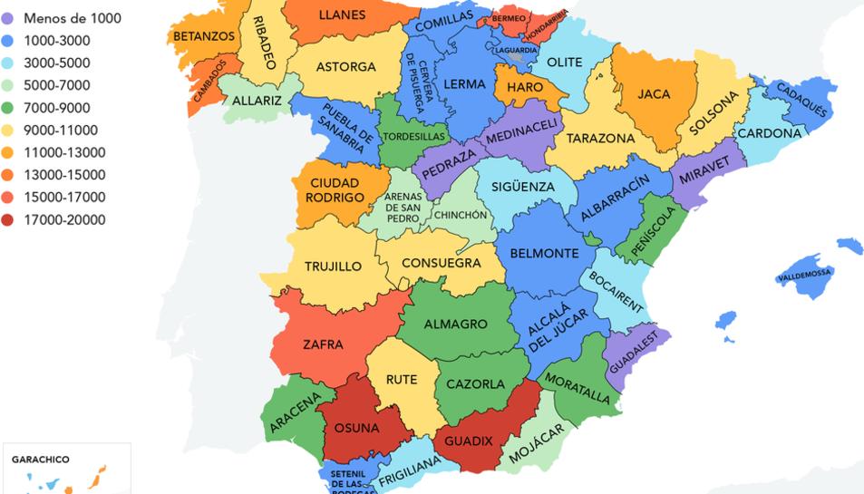El mapa amb els 50 municipis destacats per la revista de viatges.