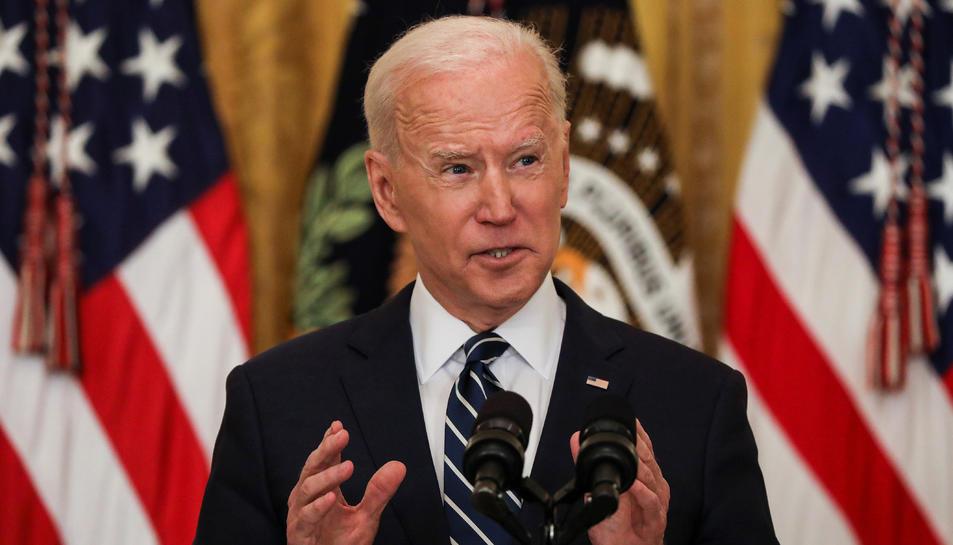 Joe Biden en la seva primera roda de premsa com a president dels EUA.