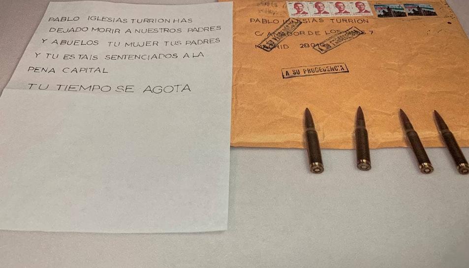 Imatge de la carta rebuda per Pablo Iglesias que ahir va compartir a Twitter.