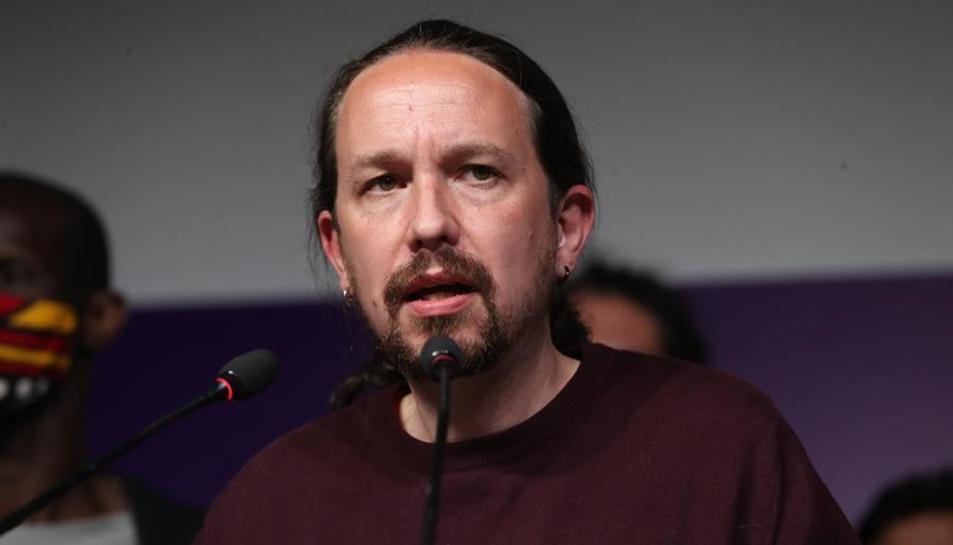 Pablo Iglesias a la seu d'Unidas Podemos on ha anunciat la seva retirada.
