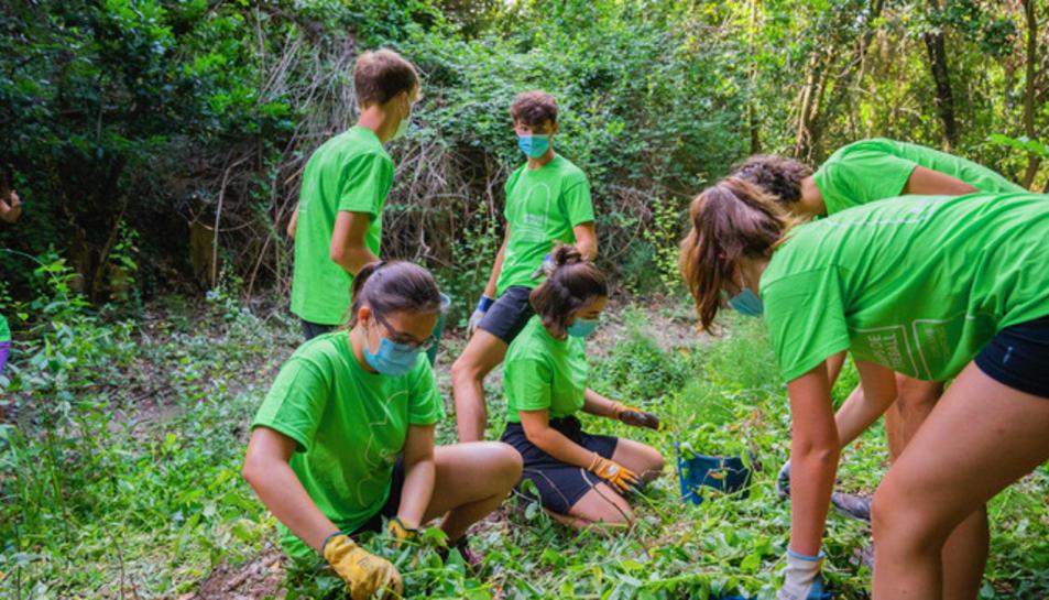Joves del Camp de treball del 2020 durant els treballs de recuperació dels torrents.
