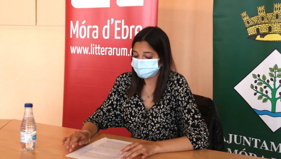La directora de Litterarum, Gemma Sastre, durant la presentació de la programació 2021.
