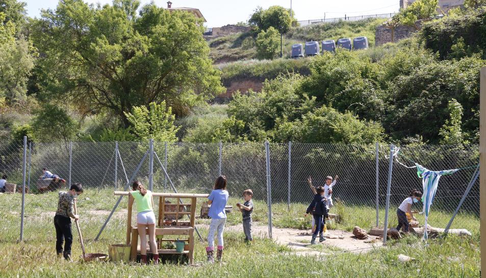 Alumnes de l'escola rural de Rocafort de Queralt, jugant en plena natura.