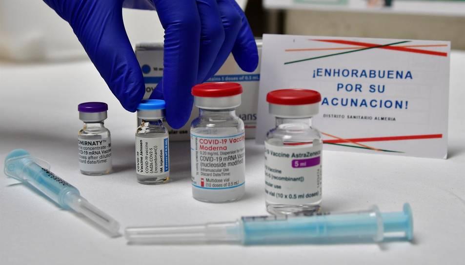 Imatge de les quatre vacunes disponibles en un punt de vacunació massiva.
