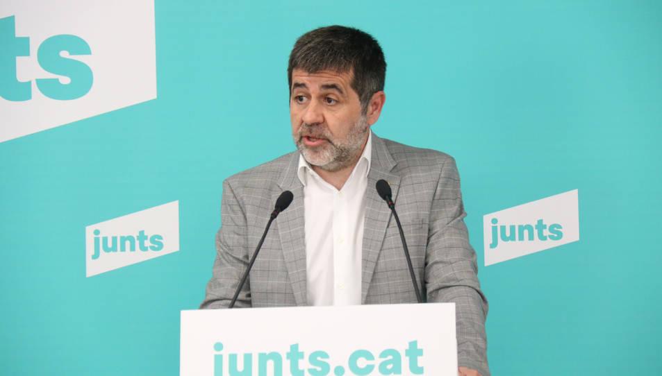 El secretari general de JxCat, Jordi Sànchez, en roda de premsa des de la seu del partit.