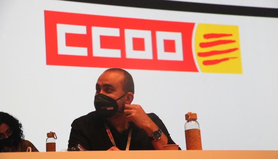 Javier Pacheco, reelegit aquest dissabte com a secretari general de CCOO a Catalunya, durant la celebració del 12è congrés del sindicat.