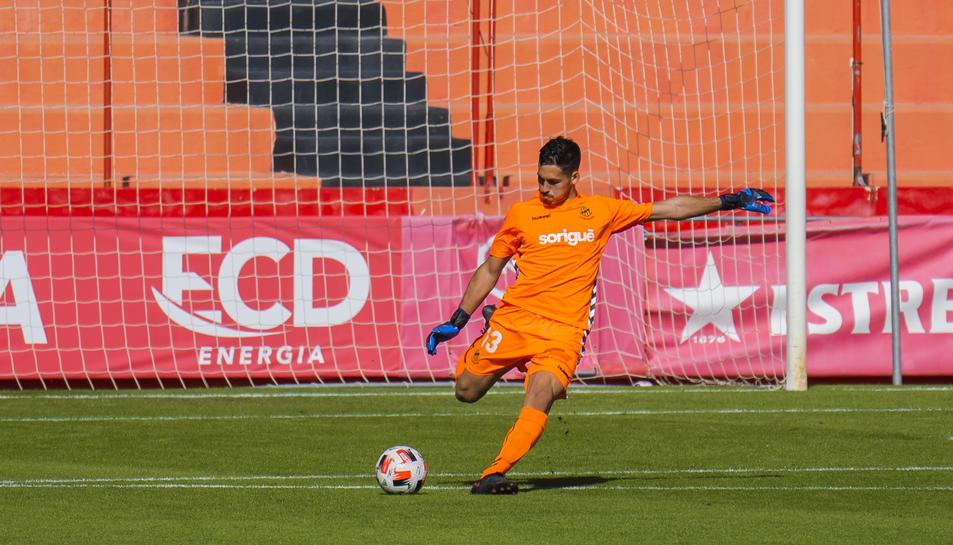 Gonzi, durant el Nàstic-Olot d'aquesta temporada, que va finalitzar amb 2-0 i, per tant, sense que el meta encaixés cap diana.