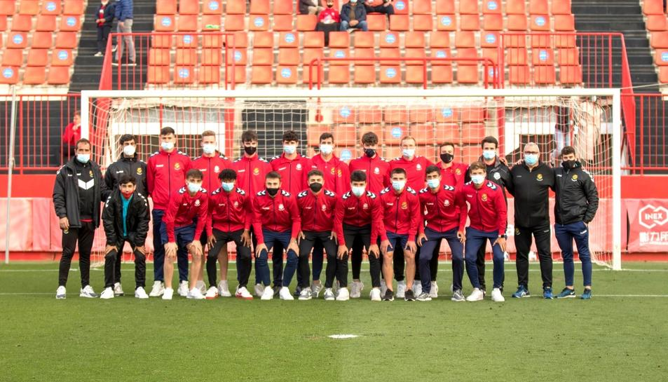 La plantilla del juvenil A del Gimnàstic de Tarragona al complet.