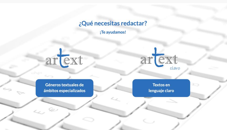 Portada de la web d'ArText desenvolupat er la UNED.