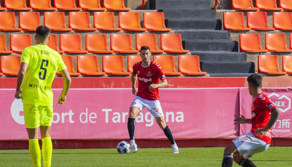 Carlos Albarrán, durant el Gimnàstic de Tarragona-Andorra de la temporada recentment finalitzada.