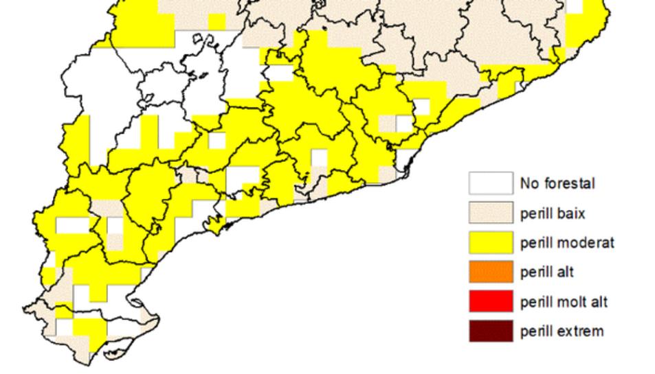 Mapa de predicció de perill d'incendi per aquest diumenge.