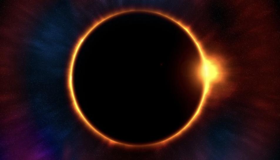 Imatge d'arxiu d'un eclipsi solar complet.