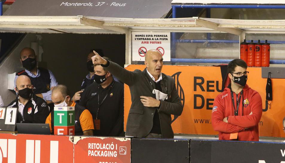 Jordi Garcia, a la banqueta del Palau d'Esports.