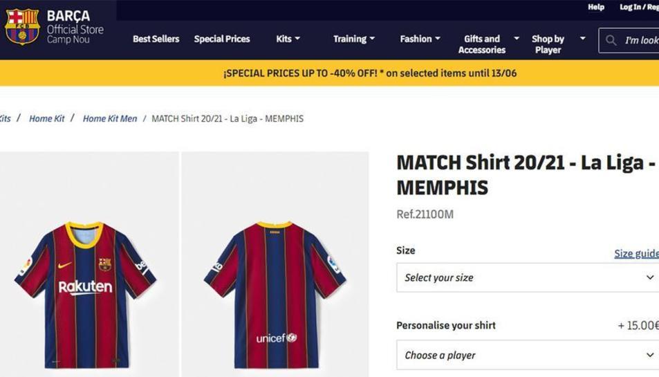 Captura de pantalla de la botiga del Barça on es pot veure la samarreta de Depay.