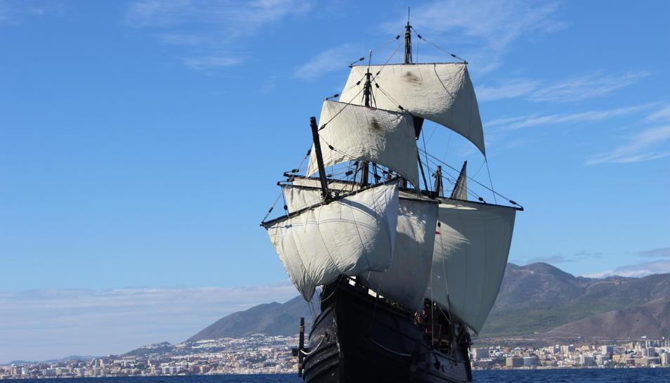 Imatge de la rèplica de la Nao Victoria que aquest dilluns arriba a Tarragona.