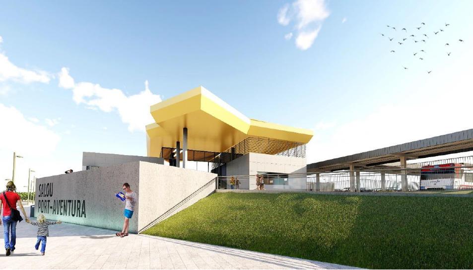 Imagen virtual del proyecto de la nueva estación de Salou-PortAventura