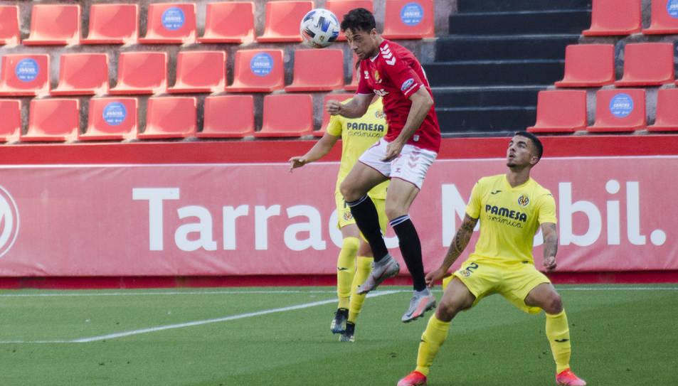 Pedro Martín, durant el Nàstic-Villarreal B de la segona fase de la passada temporada.