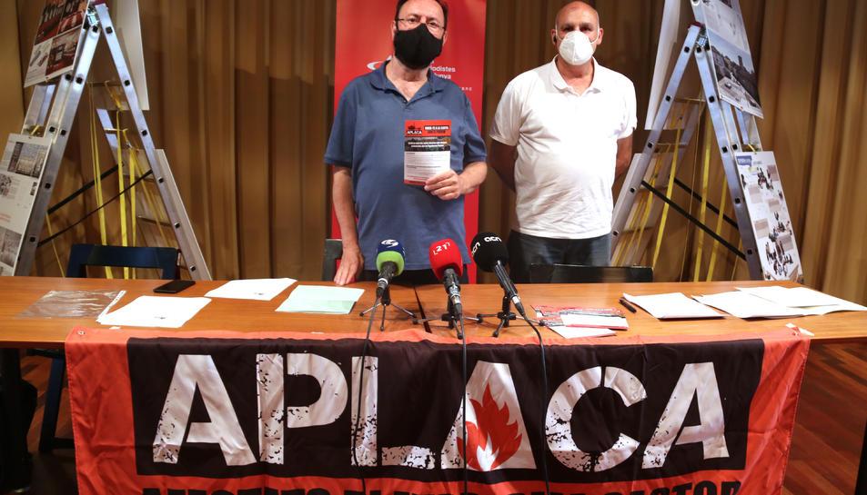 El portaveu i l'advocat d'Aplaca -afectats per la plataforma Castor-, Joan Ferrando i Raül Rovira.