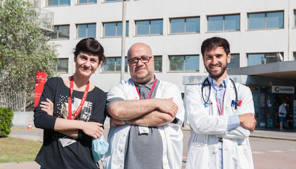Imatge de Marta Tajes, Josep Comín i Carles Díez, investigadors del grup BIOHEART.