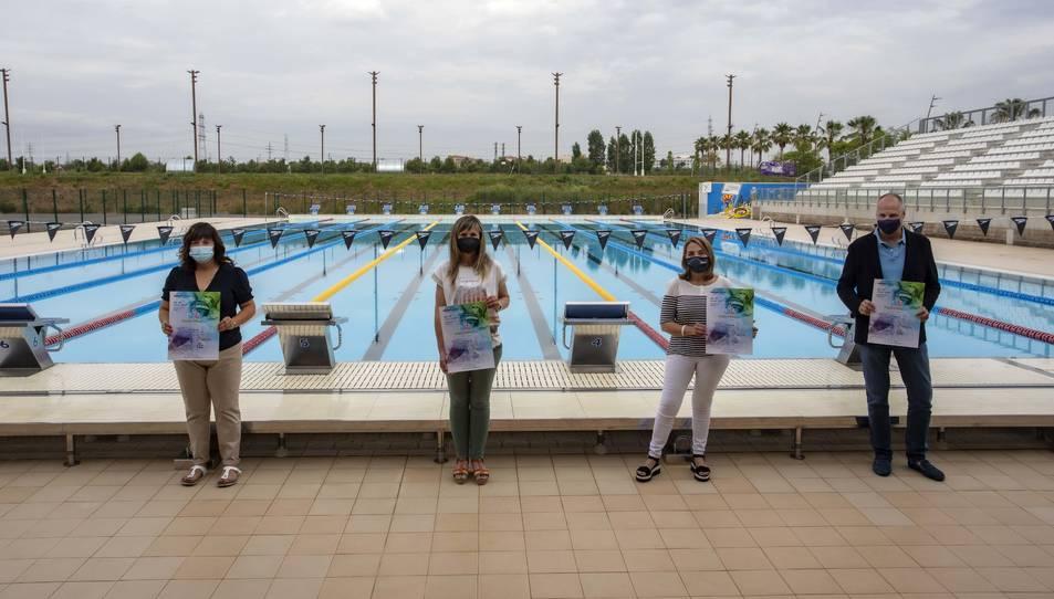 La piscina Sylvia Fontana va acollir la presentació de l'esdeveniment, ahir al matí.