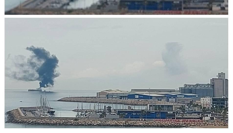 Imatge de la columna de fum provinent del vaixell.