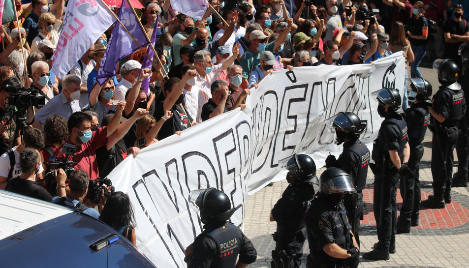 Pla obert de la protesta convocada pels CDR.
