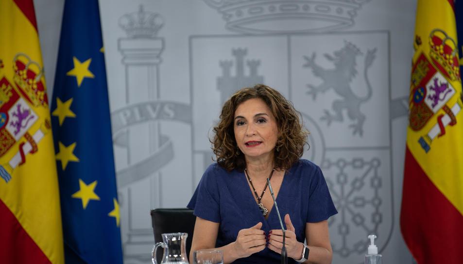La portaveu del govern espanyol, María Jesús Montero, a la roda de premsa posterior al Consell de Ministres.