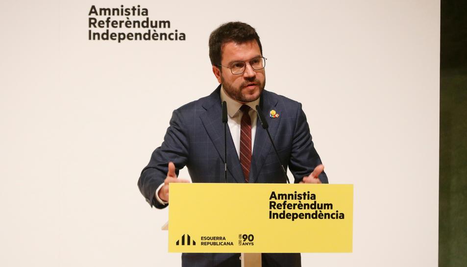 El president del Govern, Pere Aragonès, durant el consell nacional extraordinari d'ERC.