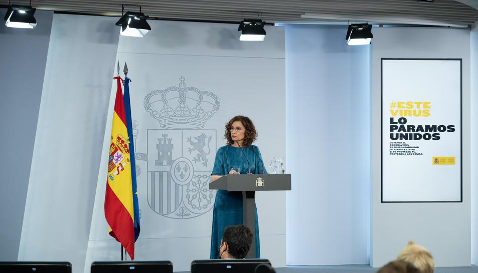 La portaveu del govern espanyol, María Jesús Montero, a la roda de premsa posterior a la reunió Sánchez-Aragonès.