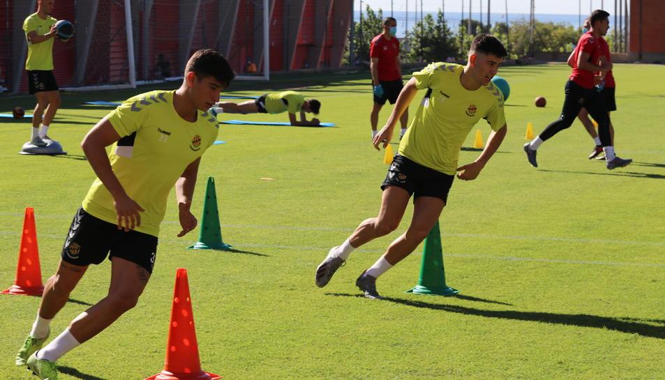 Óscar Sanz i Òscar Romero en el primer entrenament de la pretemporada de l'any passat.