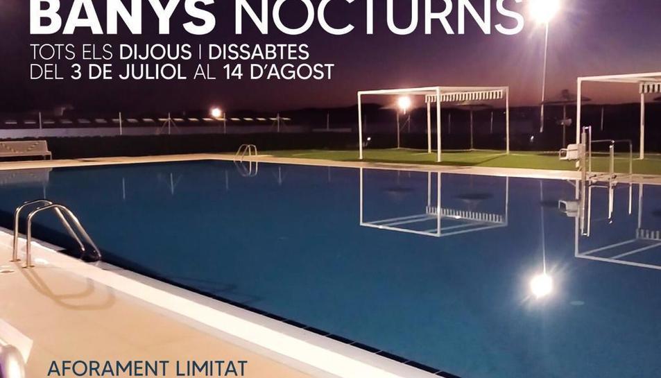 Imatge del cartell que anuncia l'activitat dels 'Banys nocturns'