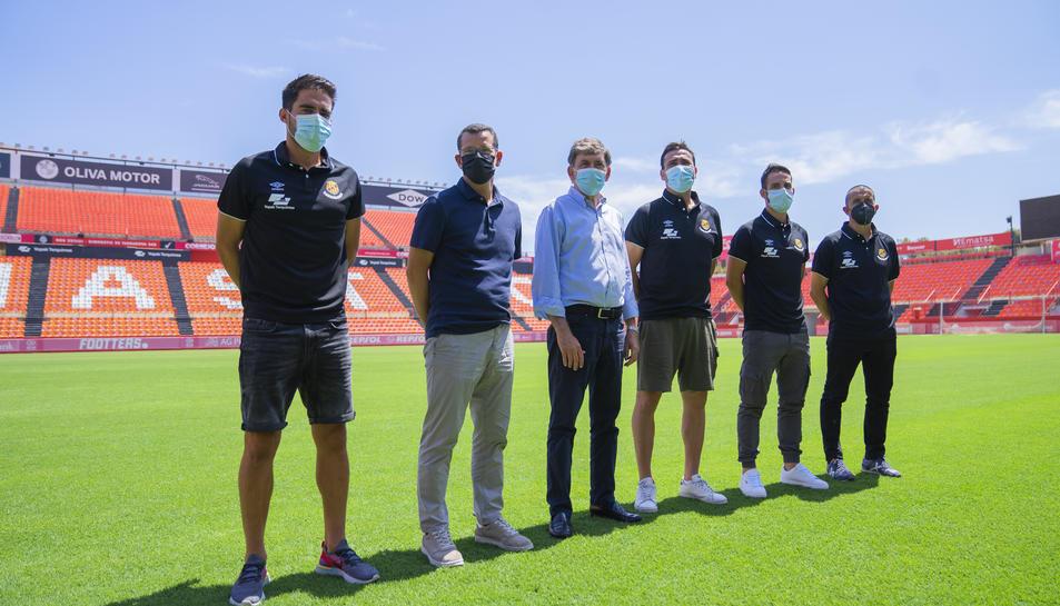 Torné, Parés, Andreu, Agné, Vidal i Oliva aquest migdia al Nou Estadi.