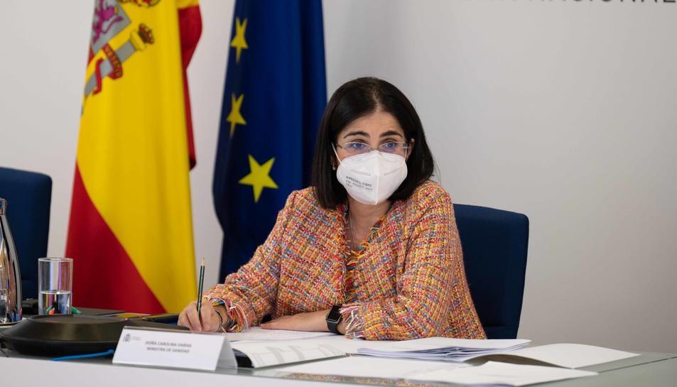 La ministra de Sanitat, Carolina Darias, durant el Consell Interterritorial de Salut Pública.