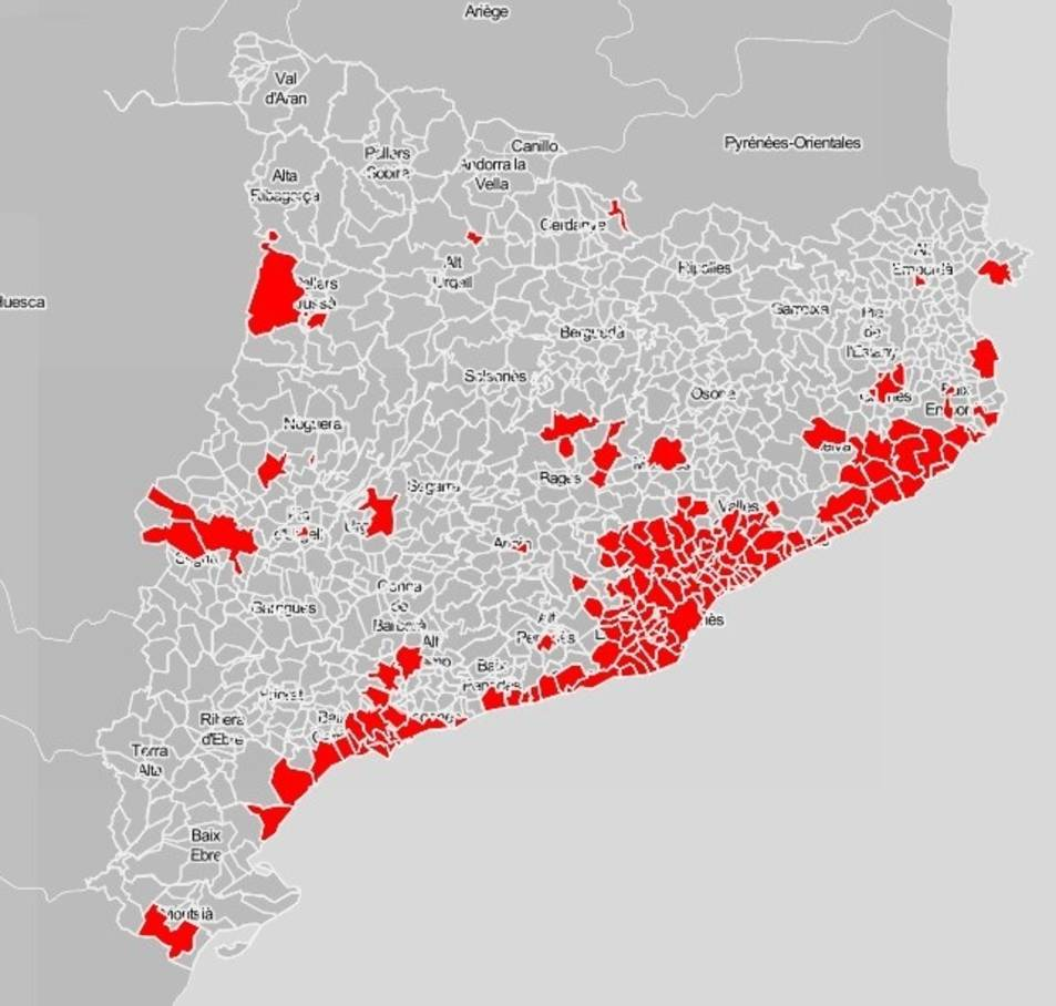 Els 165 municipis que entraran al toc de queda a partir del pròxim cap de setmana.