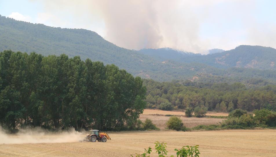 Un tractor llaurant un camp de cereals i al fons les flames de l'incendi que crema les comarques de la Conca de Barberà i l'Anoia.