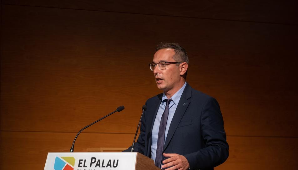 Oscar Sánchez en el moment de fer el discurs com a nou president de l'ens comarcal.