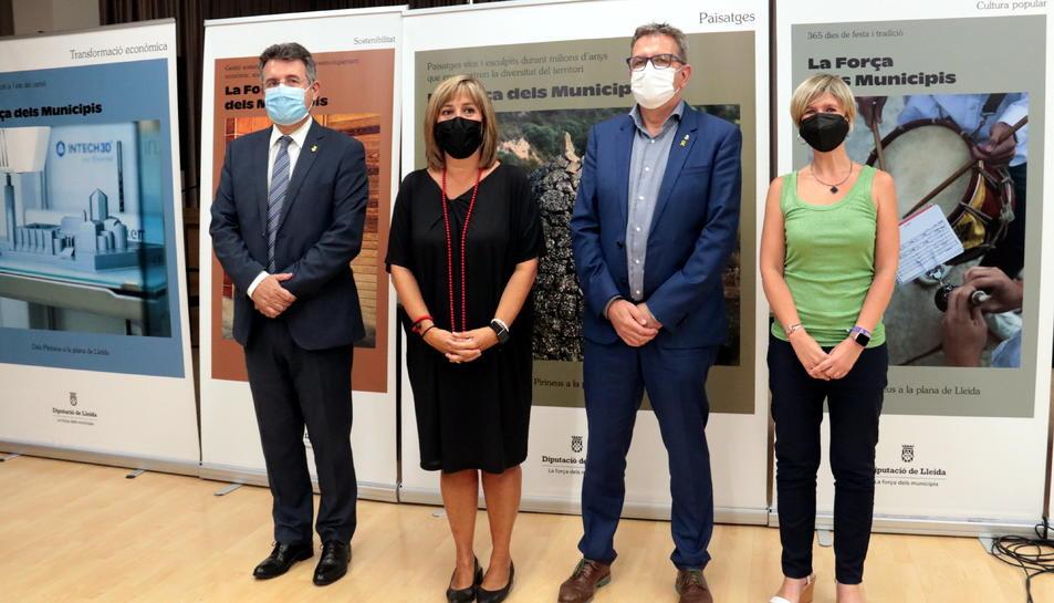 Els presidents de les quatre diputacions catalanes, Joan Talarn (Lleida), Núria Marín (Barcelona), Miquel Noguer (Girona) i Noemí Llauradó (Tarragona), a la Diputació de Lleida