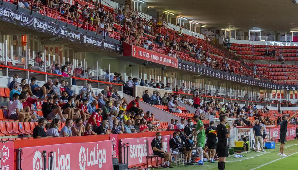 Imatge de les grades de Tribuna del Nou Estadi en el duel disputat dimecres contra l'Atlético Levante.