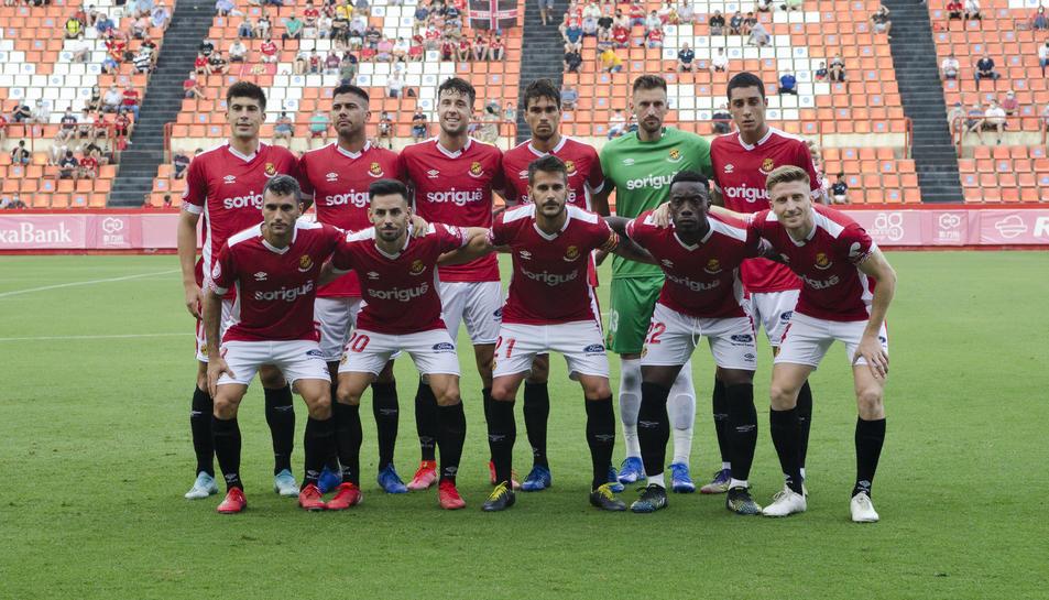 L'onze titular utilitzat per Agné en el partit jugat al Nou Estadi contra el Girona i que va repetir canviant Buyla per Fullana dissabte.