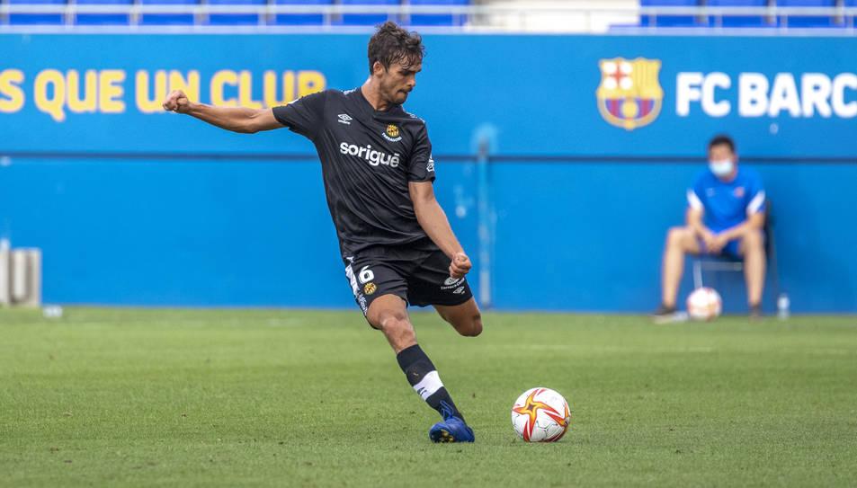 Javier Ribelles, durant l'amistós de dissabte al Johan Cruyff contra el Barcelona B (0-0).