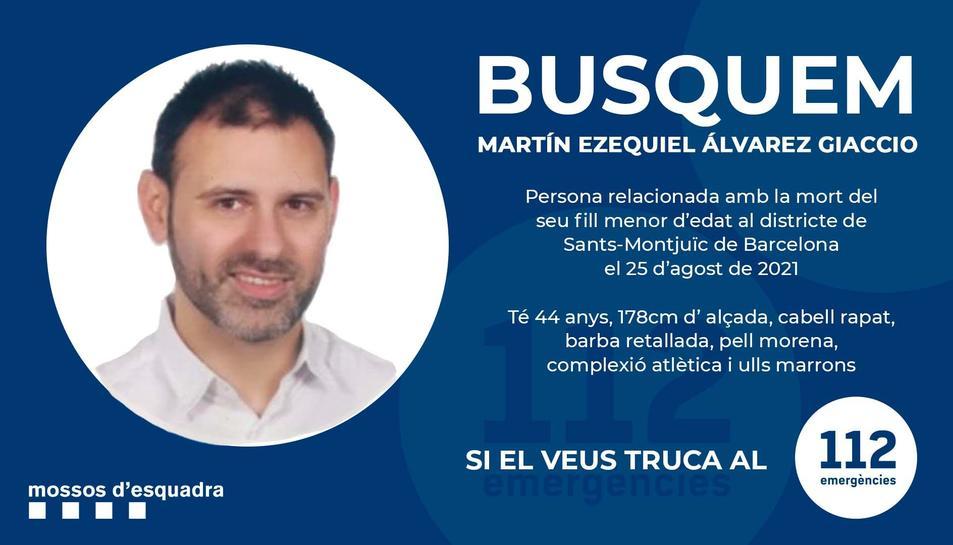 Imatge de l'anunci dels Mossos amb el nom i la fotografia del pare del nen assassinat en un hotel de Barcelona.