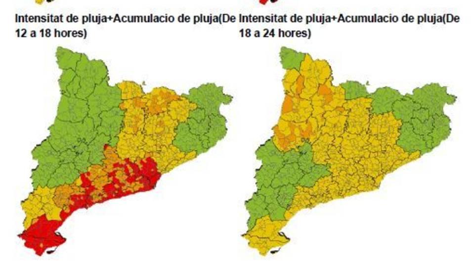 Mapa d'intensitat de pluja on es pot veure que la demarcació de Tarragona patirà intenses precipitacions.