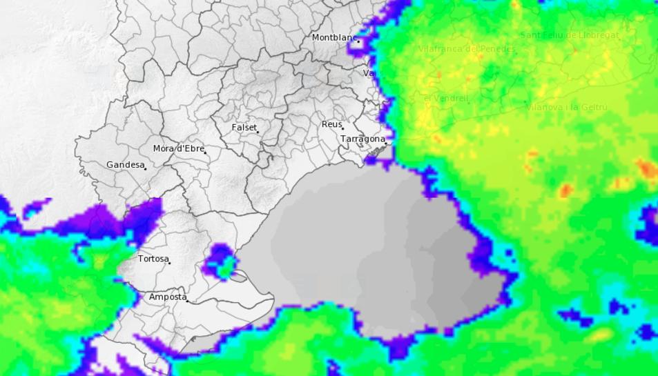 Radar meteorològic de la tarda d'aquest dilluns al Camp de Tarragona.