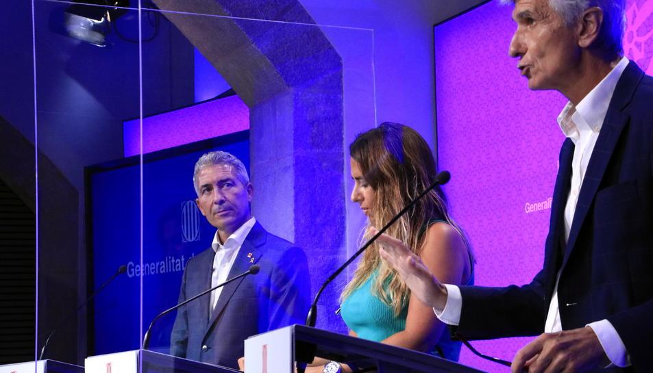 El conseller de Salut, Josep Maria Argimon, intervé en roda de premsa, amb la portaveu del Govern, Patrícia Plaja, i el conseller d'Educació, Josep Gonzàlez- Cambray.