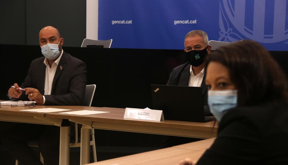 Pla tancat de la reunió del Consell de Direcció de l'Administració Territorial de la Generalitat a les Terres de l'Ebre, amb el delegat del Govern, Albert Salvadó, a la dreta de la imatge.
