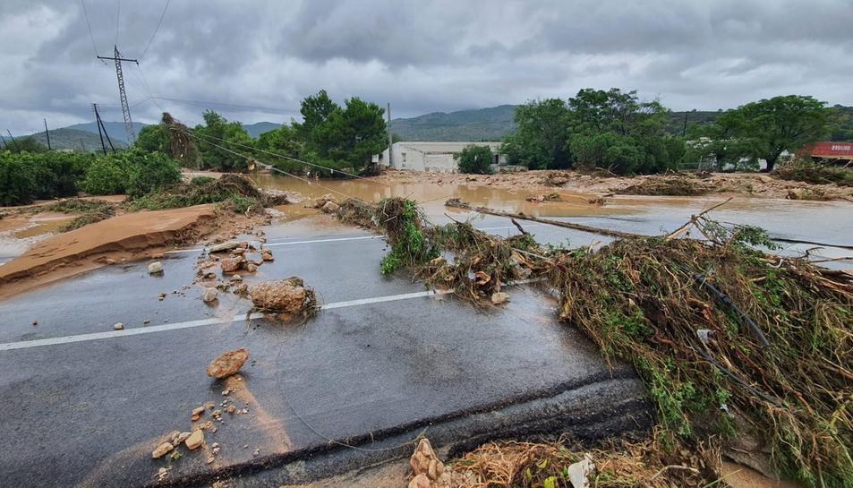 Línia elèctrica tombada al seu pas per la N-340, a Alcanar, després d'un temporal de pluja l'1 de setembre del 2021.