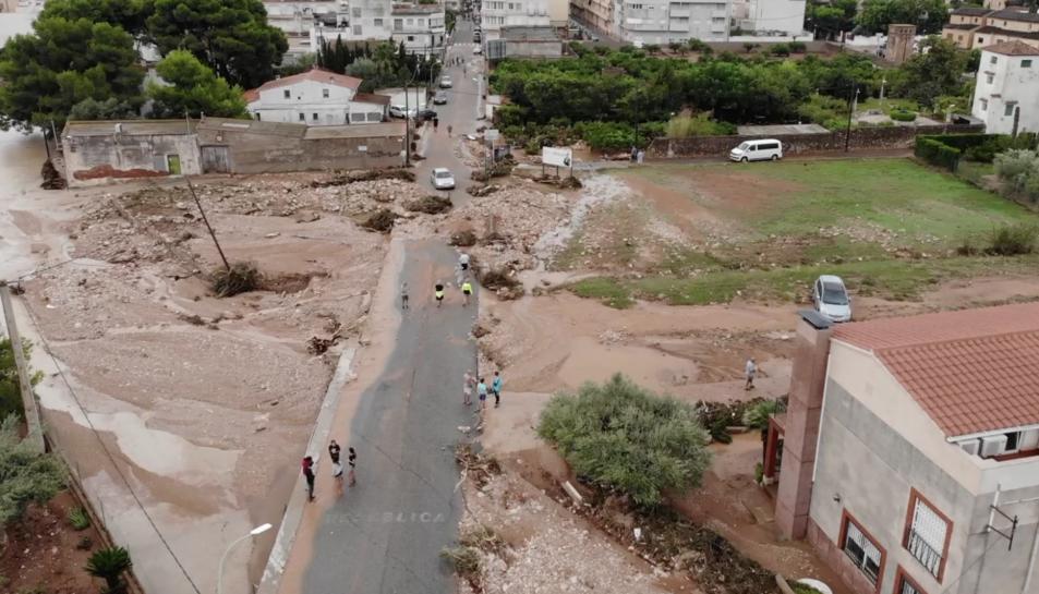 Imatges de dron de les destrosses pels Aiguats a Alcanar.