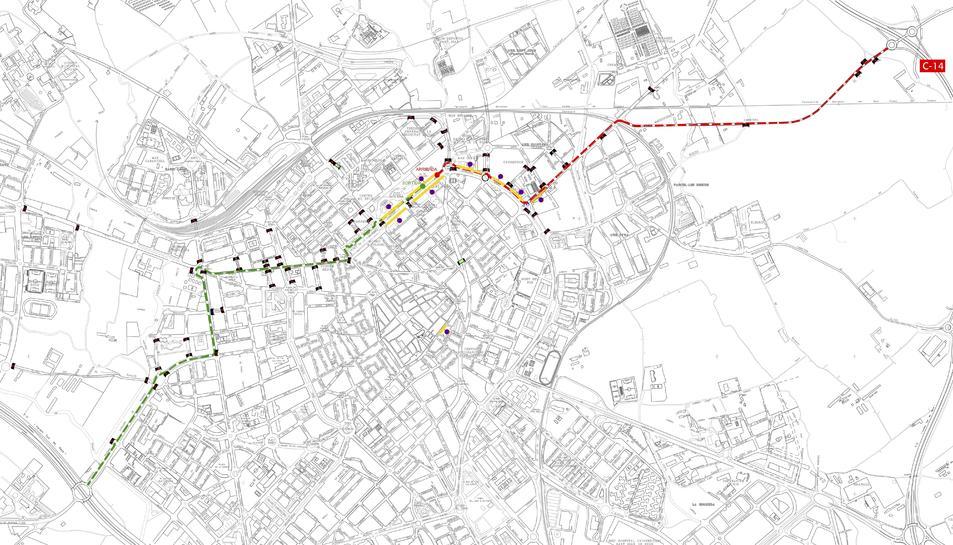 Plànol de l'itinerari de l'etapa de la 58a Volta Ciclista a Tarragona a Reus.