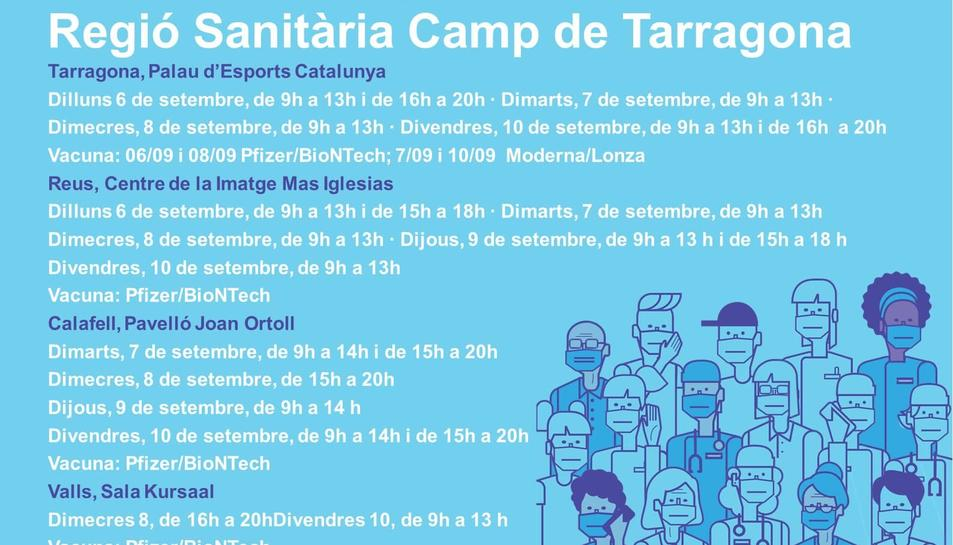 Imatge dels punts de vacunació sense cita prèvia del Camp de Tarragona.